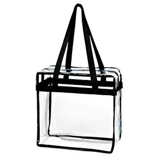 Crystal Clear Transparent PVC Plastic Women Tote Bag with Zippered Top Closure, Black Shoulder Strap