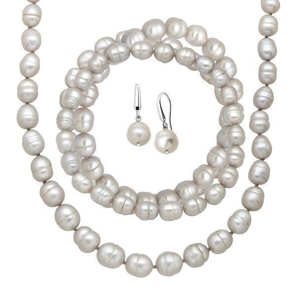 Grey Freshwater Ringed Pearl Earring, Bracelets & Necklace Set in Sterling Silver