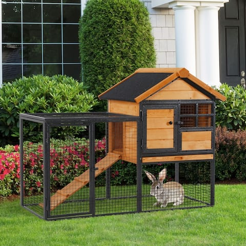 PawHut 2-Level Rabbit Hutch with Openable Hinged Asphalt Roof, Removable Tray for Backyard
