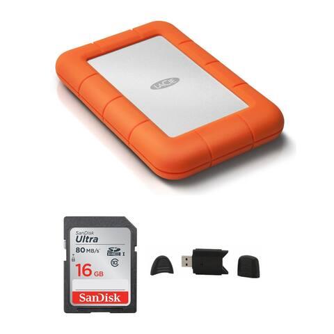 LaCie Rugged USB 3.0 1TB Mini Hard Drive with 16GB SD Card Bundle