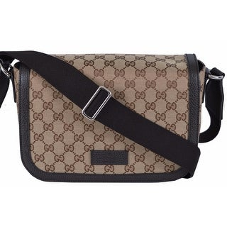 "Gucci 449172 GG Guccissima Canvas Medium Crossbody Messenger Bag Purse - Brown - 11.5"" x 7"" x 4"""