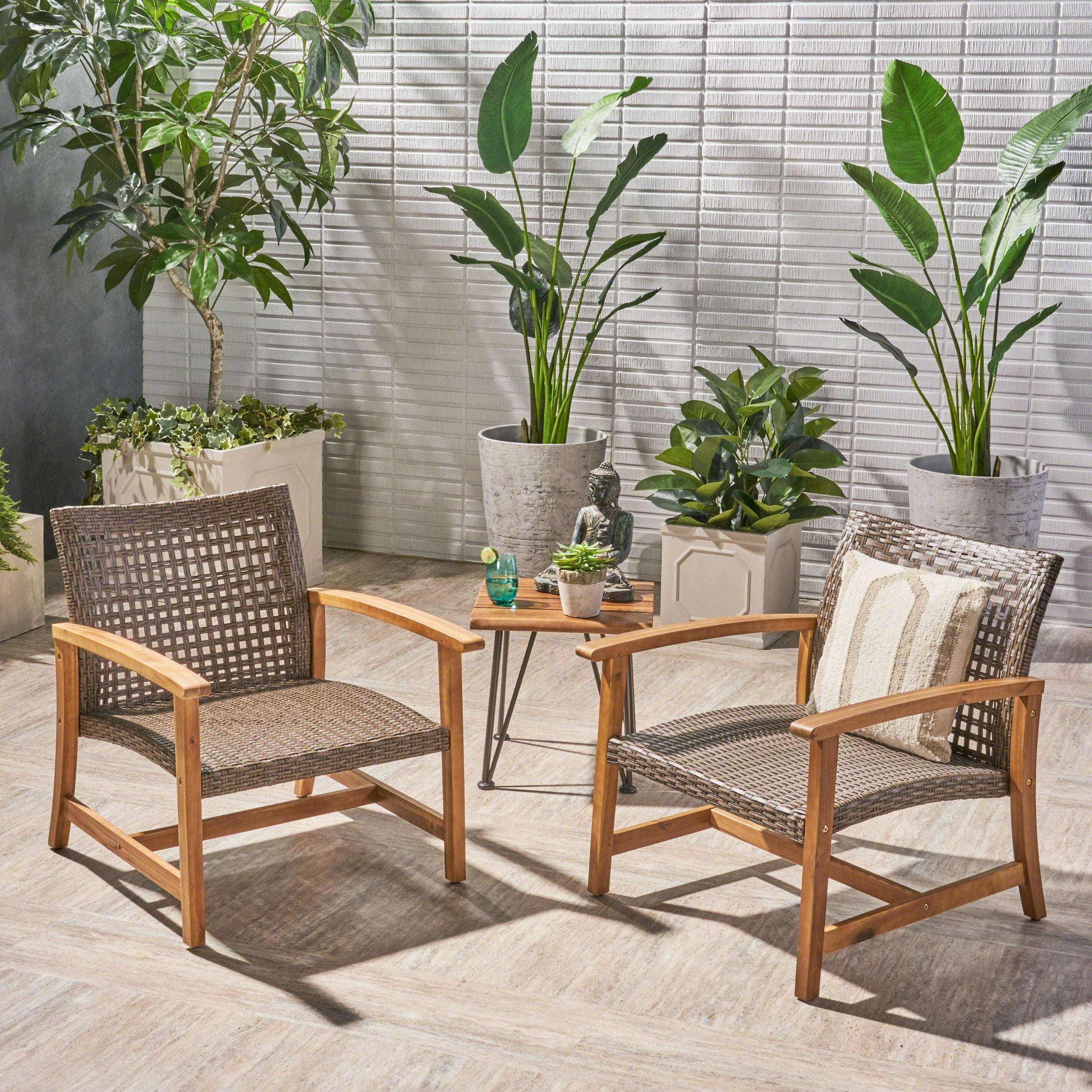 Hampton Outdoor Mid Century Wicker Club Chair Set Of 2 By Christopher Knight Home Overstock 16983327 Grey Mixed Black