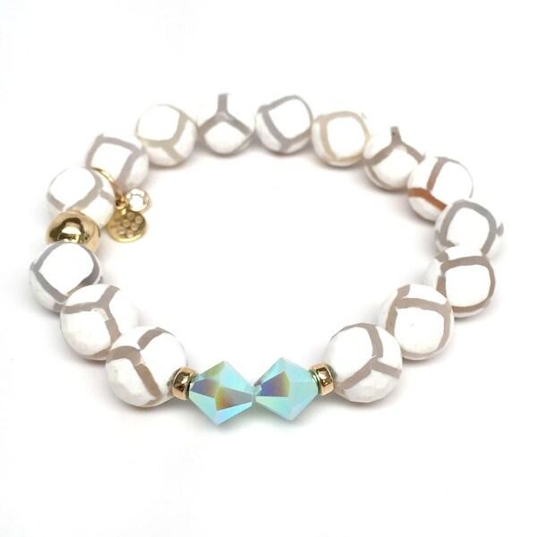 """White Agate Paris 7"""" Bracelet"""