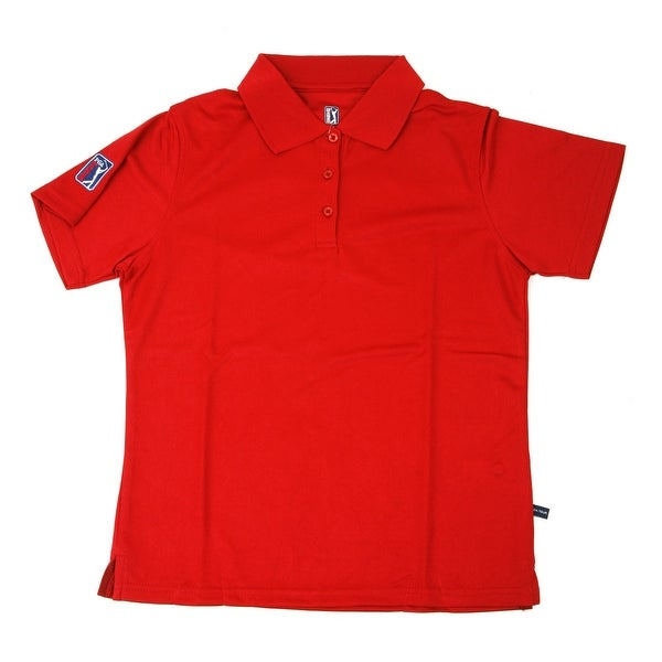 PGA TOUR Women's Polo Shirt - Red Solid - Large