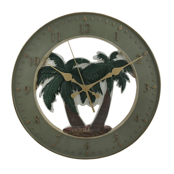 Tropical Palms Round Resin Wall Clock 13.25 inch