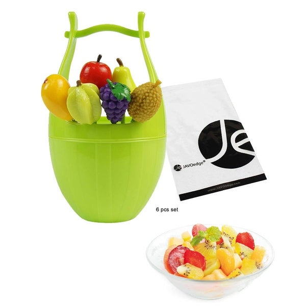 JAVOedge (Set of 6) Fruit Design Plastic Fruit Picks Forks or Dessert Forks Includes a Basket Picks Holder