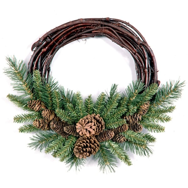 Pine Cone Grapevine Artificial Christmas Wreath 16 Inch Unlit Brown