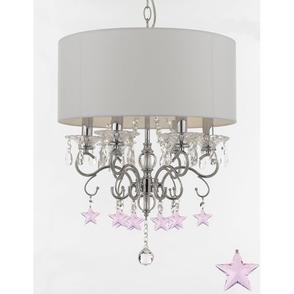 Shop Silver Mist Crystal Drum Shade Chandelier Lighting With Pink - Chandelier with crystals and drum shade
