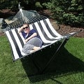 Sunnydaze 2-Person Quilted Hammock with Spreader Bars and Detachable Pillow - Hammock Stand Included - Thumbnail 53