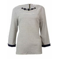 Charter Club Women's Embellished Striped Knit Top - intrepid blue