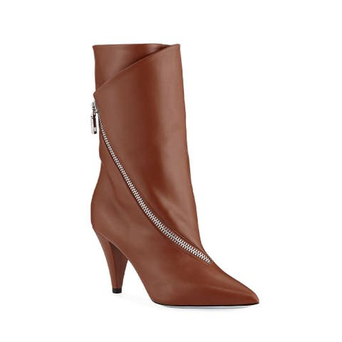 Givenchy Women's Leather Show 80 Zip Flapped Boots Brown