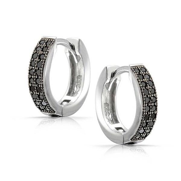 .925 Sterling Silver Hoop Clip On Earrings Cubic Zirconia
