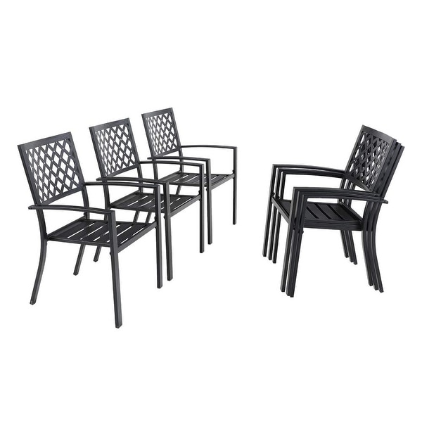 Phi Villa 6 Piece Black Metal Outdoor Furniture Patio Steel Frame Slat Seat Dining Arm Chairs. Opens flyout.