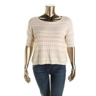 Rachel Rachel Roy Womens Textured Short Sleeves Pullover Sweater
