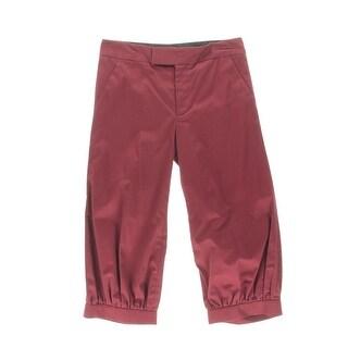 Catherine Malandrino Womens Twill Shirred Cropped Pants