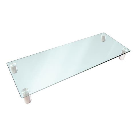 Monoprice Multimedia Riser Desktop Monitor Stand - Clear Glass, Large 30.8 x 11 Inches - Workstream Collection
