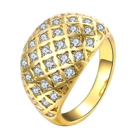 Gold Double Frame Crystal Insert Ring
