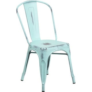 Brimmes Distressed Green-Blue Metal Stackable Chair for Patio/Bar/Restaurant