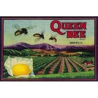 Queen Bee Lemon - Vintage Label (100% Cotton Towel Absorbent)