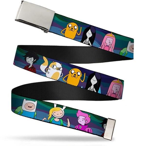 Blank Chrome Bo Buckle Adventure Time Characters5 Blue Swirls Webbing Web Belt