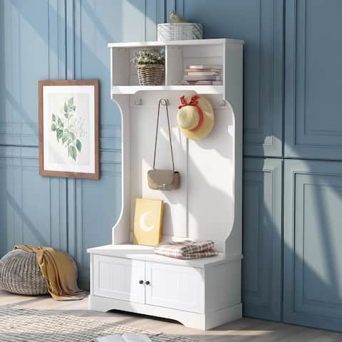 White Hall Tree Entryway Bench with Shelves Cabinet and Four Hooks