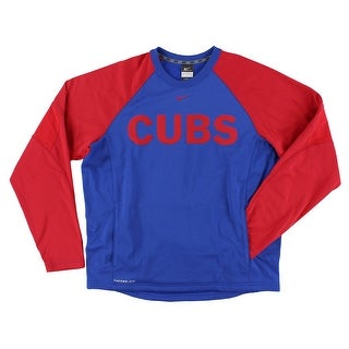 Nike Mens Therma Fit Cubs Baseball Pullover Royal Blue - Royal Blue/Red - S
