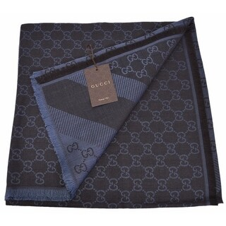 Gucci 281942 XL Wool Silk Black Blue GG Guccissima Logo Scarf Shawl Wrap