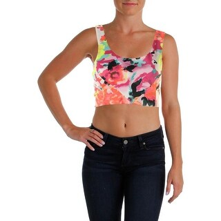 Aqua Womens Floral Print Sleeveless Crop Top