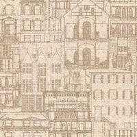 Brewster 2604-21255 Facade Sand Vintage Blueprint Wallpaper - sand blueprint
