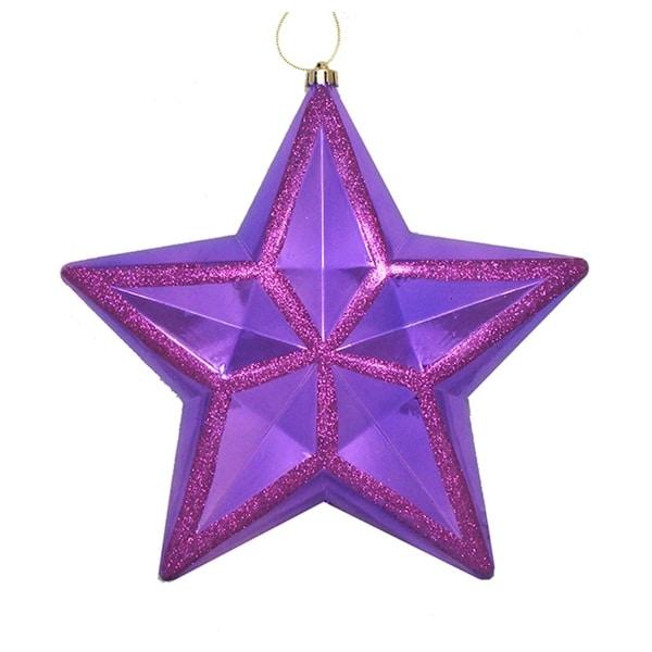 "12"" Shiny Purple Glitter Commercial Size Shatterproof Star Christmas Ornament"