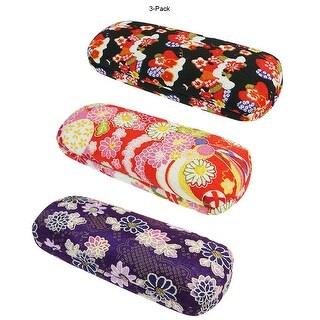 [3 PACK], JAVOedge [BLACK, PINK, PURPLE] Japanese Flower Blossom Pattern Design Eyeglass Case W/ Bonus Microfiber Cloth