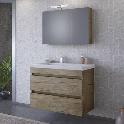 "32"" Elena Natural Wood Floating Vanity with Integrated Porcelain Sink"
