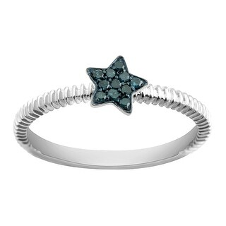 Prism Jewel 0.08Ct Round Real Blue Diamond Star Shaped Fancy Ring