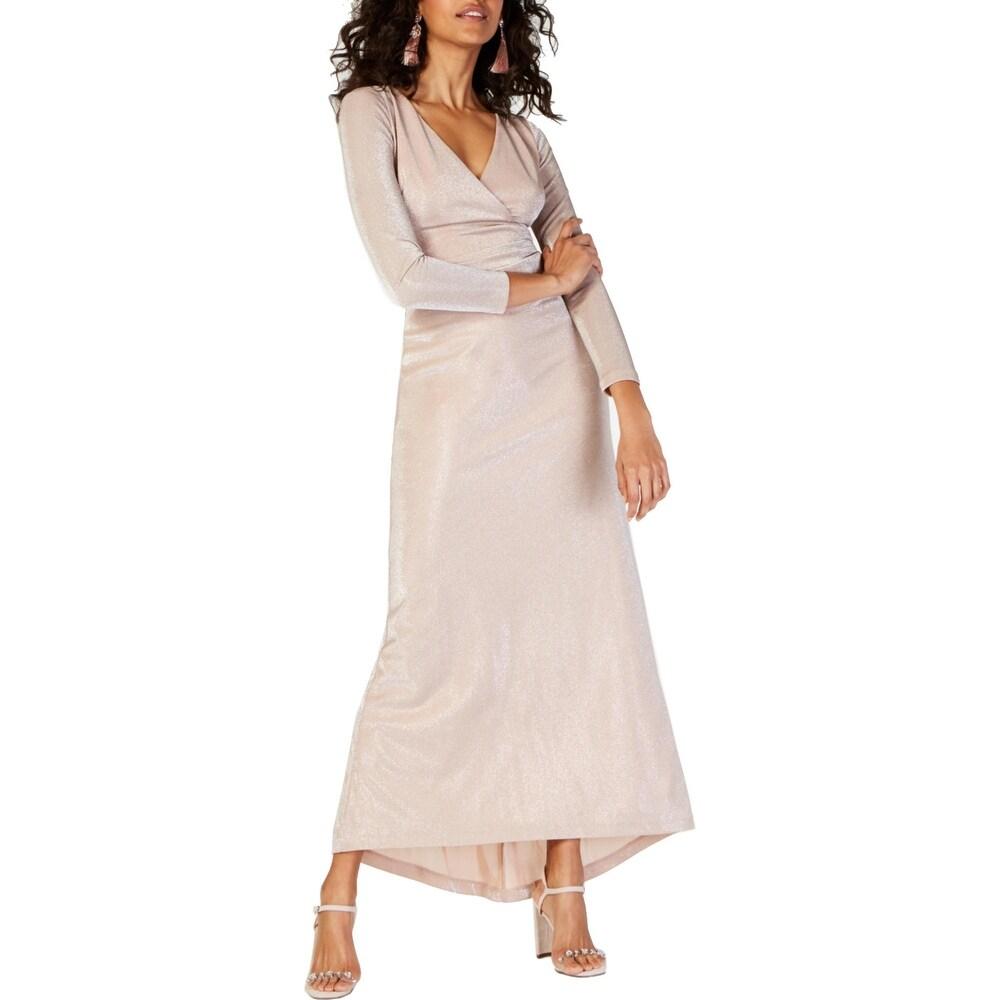Vince Camuto Womens Evening Dress Shimmer Surplice - Blush
