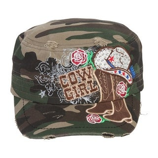 TopHeadwear Cowgirl Boots and Hat Distressed Cadet Cap