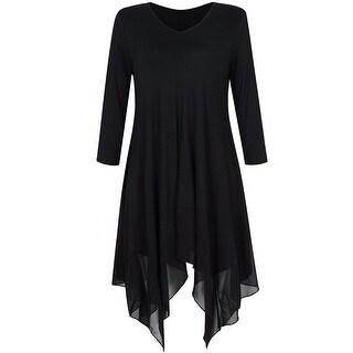 Link to Women's 3/4 Sleeve T Shirt Dress Irregular Hem Loose Flowy Tunic Tops Similar Items in Women's Plus-Size Clothing