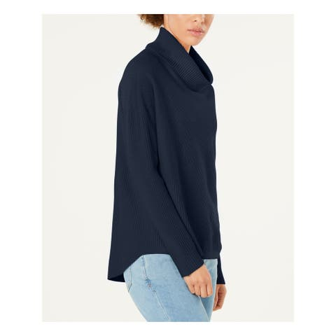 EILEEN FISHER Womens Navy Long Sleeve Turtle Neck Sweater Size M