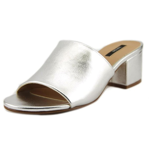 Kensie Helina Women Open Toe Leather Silver Slides Sandal