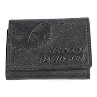 "Harley-Davidson Men's Skull Graphite Leather Tri-Fold Wallet UN4635L-GRYBLK - 4.5"" x 3.5"""