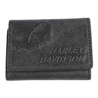 "Harley-Davidson Men's Skull Graphite Leather Tri-Fold Wallet UN4635L-GRYBLK - 4.5"" x 3.5"""