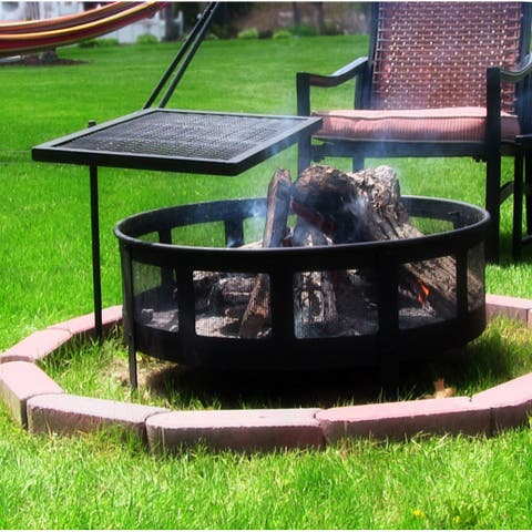 Sunnydaze Heavy-Duty Adjustable Campfire Cooking Swivel Grill - 24-Inch - Black Black