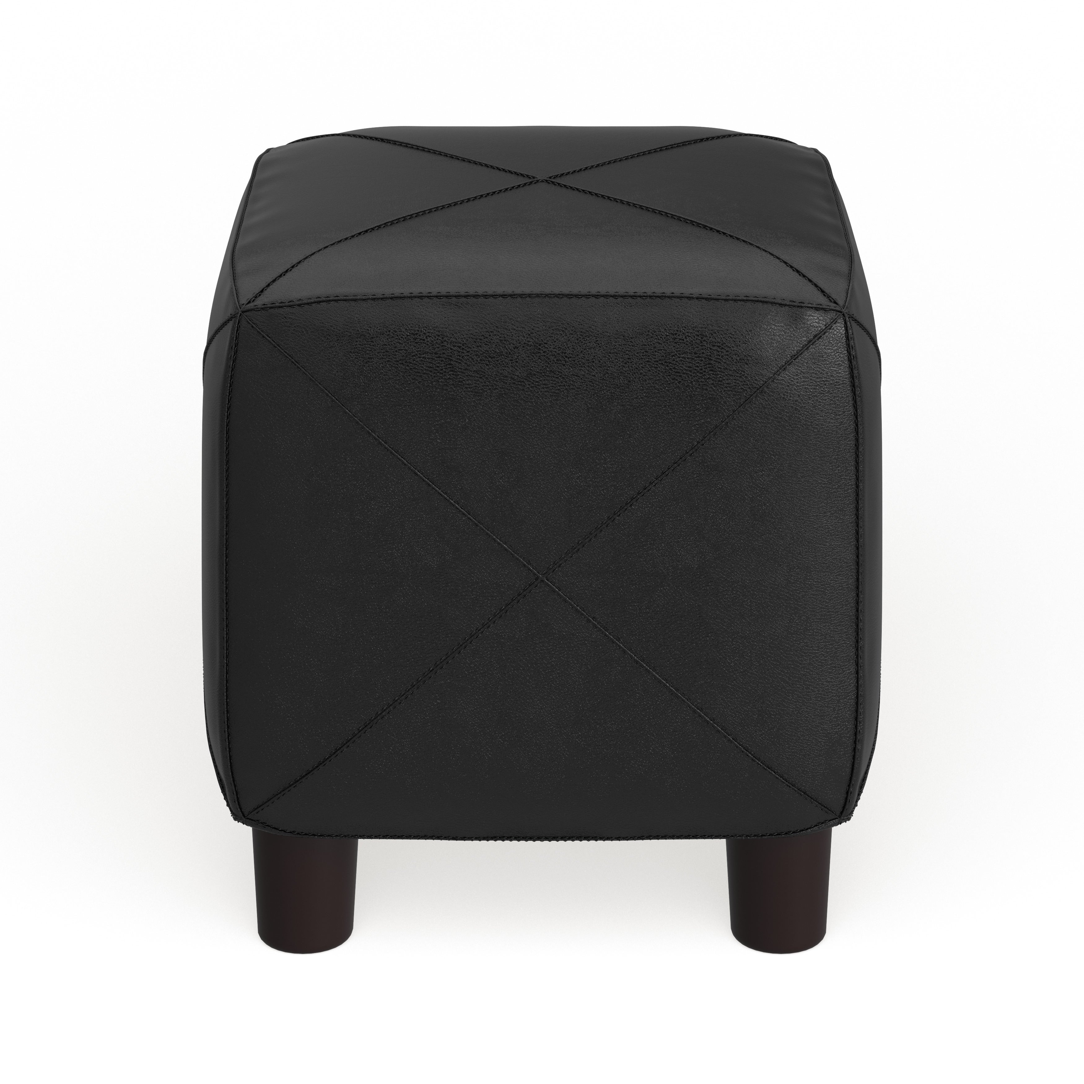 Leary Faux Leather Cube Ottoman
