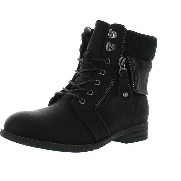 Via Pinky Sky-02 Women's Lace Up Foldable Ankle Bootie Western Style Shoes - Black