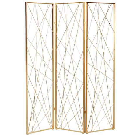 "Tall Gold Metal Abstract Patterned Room Divider 59"" X 79"" - 59 x 2 x 79"