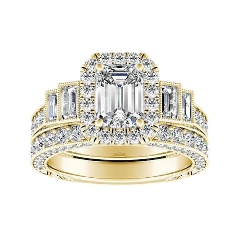 Lab Grown 2 4/5ctw Vintage Emerald-cut Halo Diamond Engagement Ring Set 14k Gold by Ethical Sparkle