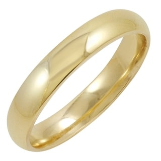 Men's 14K Yellow Gold 4MM Comfort Fit Plain Wedding Band (Available Ring Sizes 8-12 1/2)