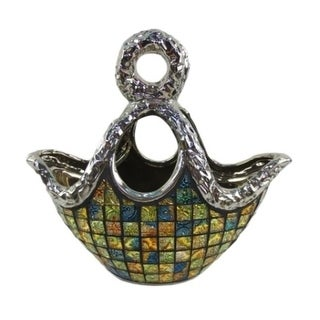 Dolce Mela DMCV011 Purse Decorative Ceramic & Glass Flower Vase - 14.5 x 5.5 x 9 in.