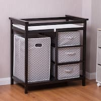 Costway Infant Baby Changing Table w/3 Basket Hamper Diaper Storage Nursery - dark brown frame, gray + white basket