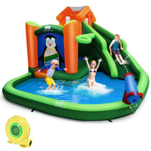 Costway Inflatable Water Park Slide Bouncer w/ Splash Pool Water Cannon and 680W Blower