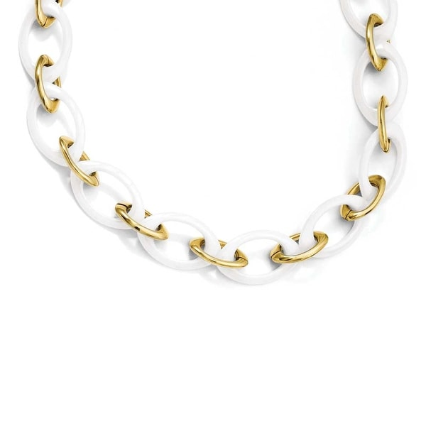 Stainless Steel Gold-plated & White Ceramic 20in Necklace (20 mm) - 20 in